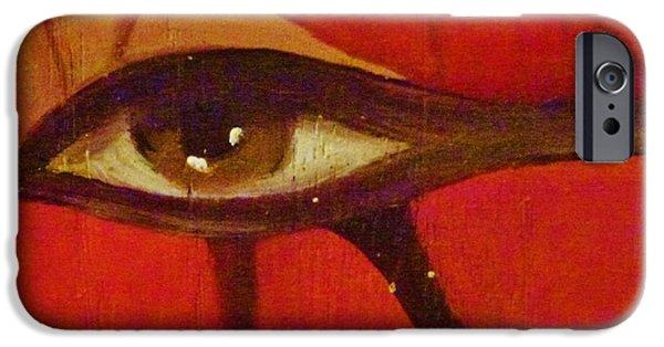 Horus Paintings iPhone Cases - Eye of Horus iPhone Case by Celeste  Acevedo Garat
