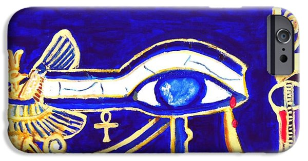 Horus Paintings iPhone Cases - Eye of Ra iPhone Case by Israel  A Torres