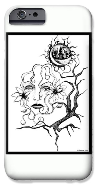 City Scape Drawings iPhone Cases - Eye of The Beholder iPhone Case by Shawna  Rowe