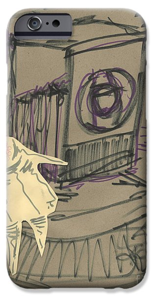 Abstract Collage Drawings iPhone Cases - Eye of the Camera Dancing iPhone Case by Cathy Peterson