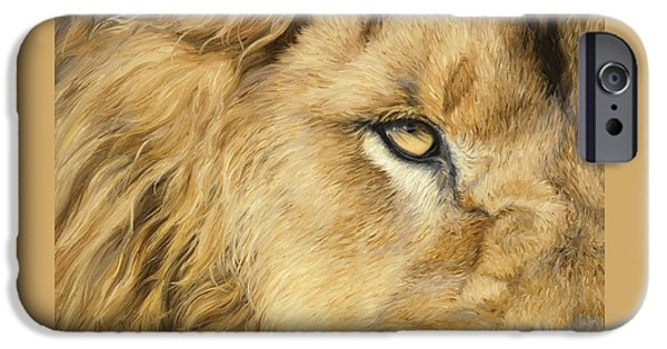 Close Paintings iPhone Cases - Eye Of The Lion iPhone Case by Lucie Bilodeau