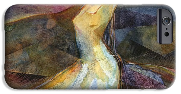 Earth Tone Paintings iPhone Cases - Eye of the Storm iPhone Case by Jen Norton