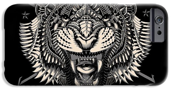 Artwork Drawings iPhone Cases - Eye of the Tiger iPhone Case by BioWorkZ