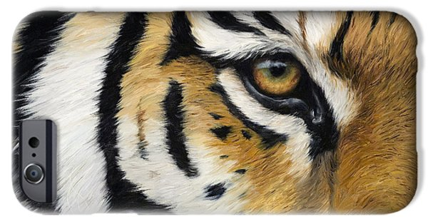 Close Paintings iPhone Cases - Eye Of The Tiger iPhone Case by Lucie Bilodeau