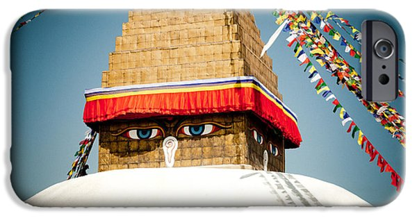 Tibetan Buddhism iPhone Cases - Eye of Tibetan stupa Boudnath and Buddhist Prayer Flags  iPhone Case by Raimond Klavins