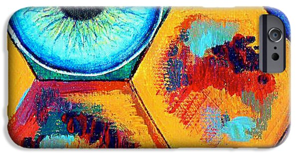 Block Print Drawings iPhone Cases - Eye On Honeycomb iPhone Case by Genevieve Esson