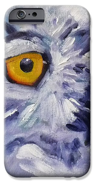 Business Paintings iPhone Cases - Eye on You iPhone Case by Nancy Merkle