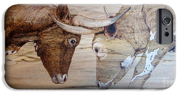 Bulls Pyrography iPhone Cases - Eye to eye iPhone Case by Cindy Jo Burleson