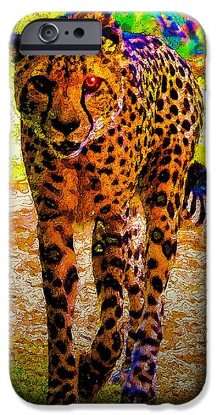 Cheetah Digital Art iPhone Cases - Eye of the huntress iPhone Case by David Lee Thompson