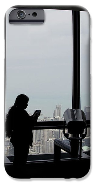 Eyes Down From The 103rd Floor Texting From The Top Of The World iPhone Case by Thomas Woolworth