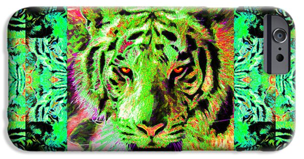 The Tiger Hunt iPhone Cases - Eyes of The Bengal Tiger Abstract Window 20130205m180 iPhone Case by Wingsdomain Art and Photography