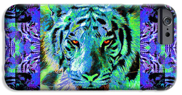 The Tiger Hunt iPhone Cases - Eyes of The Bengal Tiger Abstract Window 20130205m80 iPhone Case by Wingsdomain Art and Photography