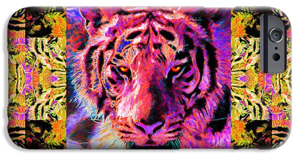 The Tiger Hunt iPhone Cases - Eyes of The Bengal Tiger Abstract Window 20130205p80 iPhone Case by Wingsdomain Art and Photography