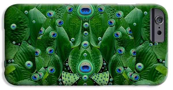 Contemplative Mixed Media iPhone Cases - Eyes Of the Hidden Peacock iPhone Case by Pepita Selles