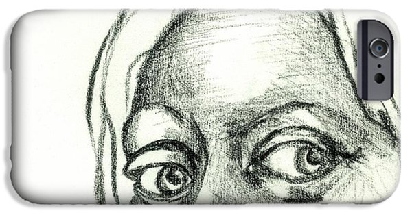 Close Up Drawings iPhone Cases - Eyes - The Sketchbook Series iPhone Case by Michelle Calkins