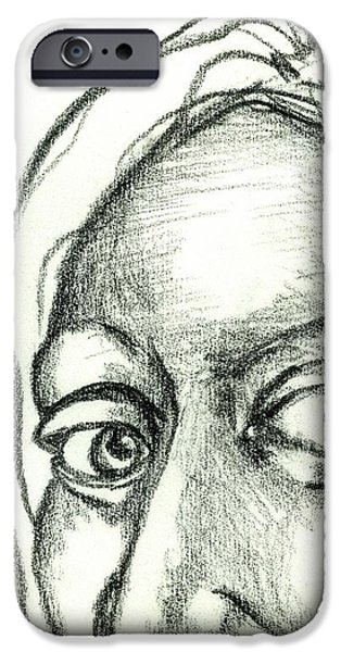 Eyes - The Sketchbook Series iPhone Case by Michelle Calkins