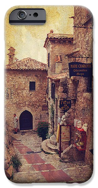 Village iPhone Cases - Eze Street in Color. France iPhone Case by Jenny Rainbow