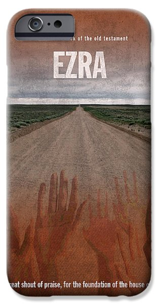 Ezra Books Of The Bible Series Old Testament Minimal Poster Art Number 15 iPhone Case by Design Turnpike