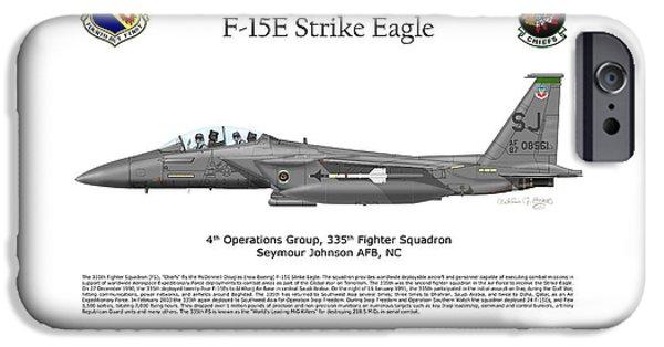 Iraq Prints iPhone Cases - F-15E Strike Eagle 335th FS iPhone Case by Arthur Eggers