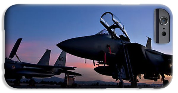 Aeronautics iPhone Cases - F-15E Strike Eagles at Dusk iPhone Case by Adam Romanowicz