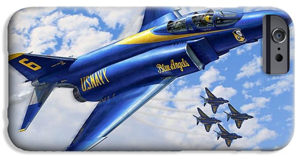 Blue Angels iPhone Cases - F-4 Phantoms in Blue iPhone Case by Stu Shepherd