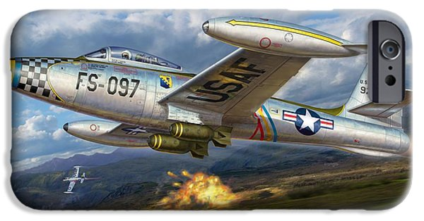 Republic Digital iPhone Cases - F-84E Thunderstrike iPhone Case by Stu Shepherd