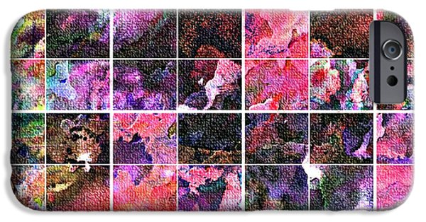 Abstract Digital Tapestries - Textiles iPhone Cases - Tiled Watercolor Blocks with Texture 5 iPhone Case by Barbara Griffin