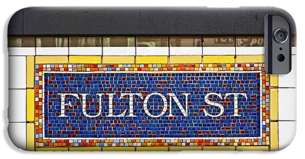 Nyc iPhone Cases - F is for Fulton Street iPhone Case by Rona Black