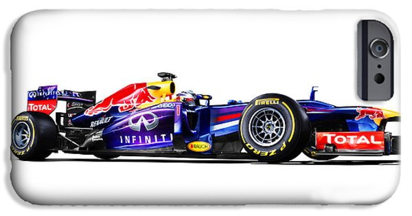 Cars Digital Art iPhone Cases - F1 Red Bull RB9 iPhone Case by Gianfranco Weiss