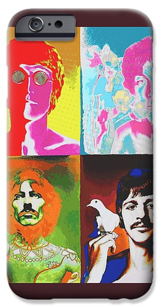 Legendary Music Singers iPhone Cases - Fab Four iPhone Case by Dan Haraga