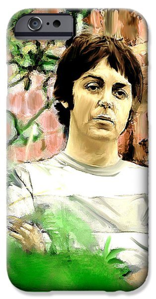 John Lennon Drawings iPhone Cases - Fab  Paul McCartney  iPhone Case by Iconic Images Art Gallery David Pucciarelli