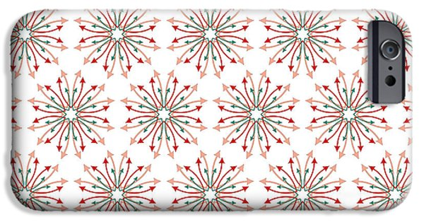 Concept Tapestries - Textiles iPhone Cases - Fabric Arrows Flowers iPhone Case by Jozef Jankola