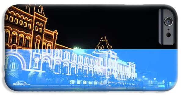 Commercial Photography iPhone Cases - Facade Of A Building Lit Up At Night iPhone Case by Panoramic Images