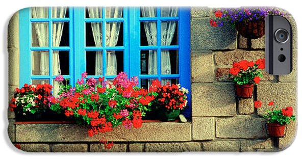 Flowerpot iPhone Cases - Facade Of A Building, Locronan, France iPhone Case by Panoramic Images