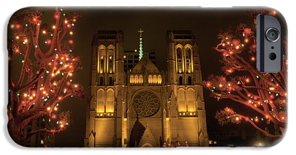 Facade iPhone Cases - Facade Of A Church, Grace Cathedral iPhone Case by Panoramic Images