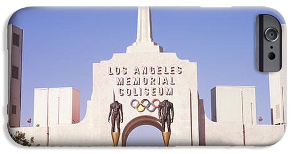 Facade iPhone Cases - Facade Of A Stadium, Los Angeles iPhone Case by Panoramic Images