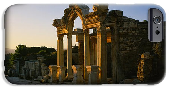 Ephesus iPhone Cases - Facade Of A Temple, Hadrian Temple iPhone Case by Panoramic Images