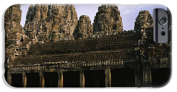 Buddhism iPhone Cases - Facade Of An Old Temple, Angkor Wat iPhone Case by Panoramic Images