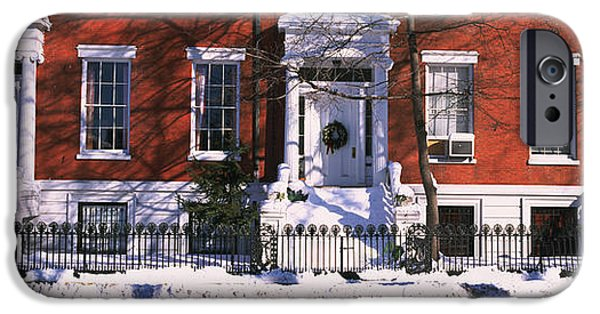 Facade iPhone Cases - Facade Of Houses In The 1830s Federal iPhone Case by Panoramic Images