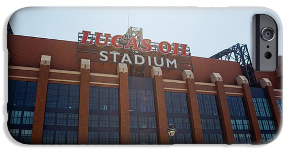 Indiana Photography iPhone Cases - Facade Of The Lucas Oil Stadium iPhone Case by Panoramic Images