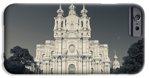 Facade iPhone Cases - Facade Of The Smolny Cathedral, Smolny iPhone Case by Panoramic Images