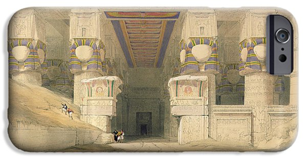 Ruin iPhone Cases - Facade Of The Temple Of Hathor, Dendarah, From Egypt And Nubia, Engraved By Louis Haghe 1806-85 iPhone Case by David Roberts