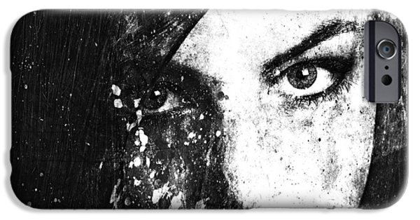 Monochrome Mixed Media iPhone Cases - Face In A Dream grayscale iPhone Case by Marian Voicu