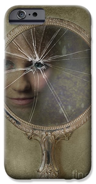 Glass Reflecting iPhone Cases - Face In Broken Mirror iPhone Case by Amanda And Christopher Elwell
