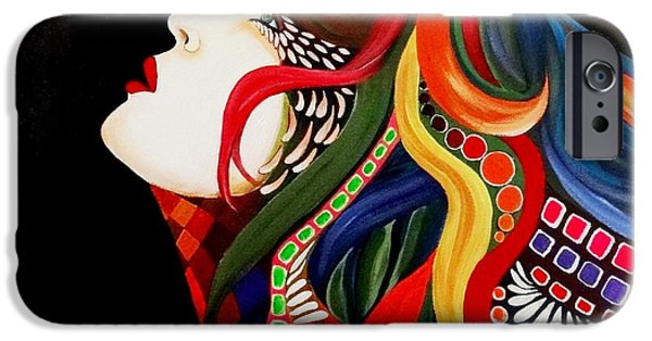 Lips iPhone Cases - Face in Estasy iPhone Case by Xafira Mendonsa
