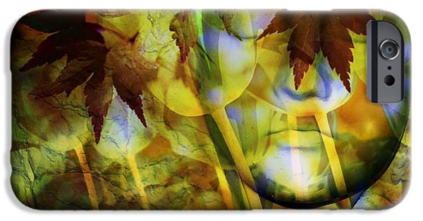 Abstract Digital Art iPhone Cases - Face In the Rock Dreams of Tulips iPhone Case by Elizabeth McTaggart