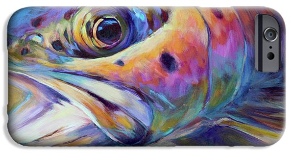 Colorful Paintings iPhone Cases - Face of A Rainbow- Rainbow Trout Portrait iPhone Case by Mike Savlen
