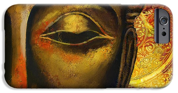 Buddhist Paintings iPhone Cases - Face of Buddha  iPhone Case by Corporate Art Task Force
