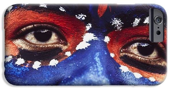 The Blue Face iPhone Cases - Face Of Carnival iPhone Case by Ian Cumming