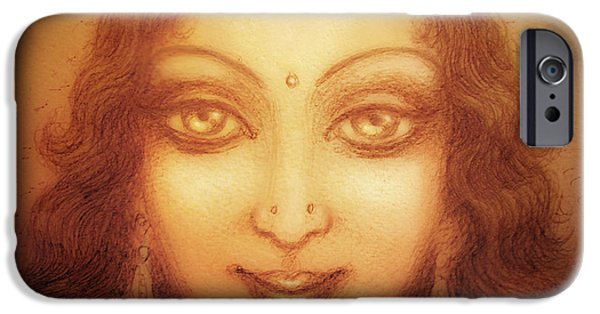 Recently Sold -  - Hindu Goddess iPhone Cases - Face of the Goddess/ Durga Face iPhone Case by Ananda Vdovic